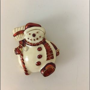 Christopher radko snowman pin brooch Christmas